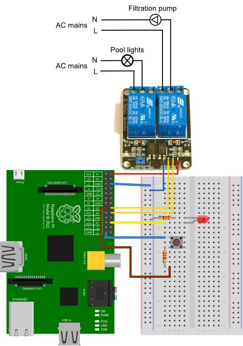 Wiring diagram for pool automation using the Raspberry Pi.