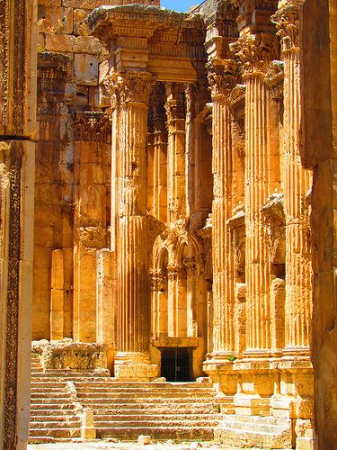 Temple of Bacchus in ancient Heliopolis, modern Baalbek, Lebanon (temple built by Roman Emperor Antoninus Pius (138-161 AD), the best preserved of the sanctuary's three temples,)