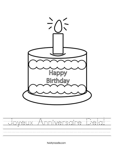 Joyeux Anniversaire Dela Worksheet from TwistyNoodle.com