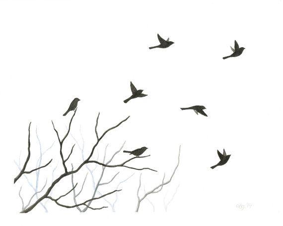 Original Watercolor Bird Painting Flying Birds by ABFoleyArtworks, $50.00