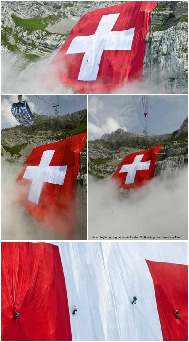 Swiss flag unfolding on Mount Säntis, Swiss National Day 2003.