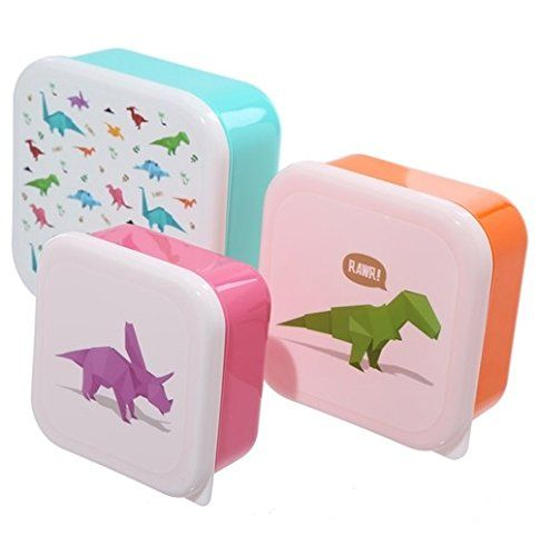 From 3.99:Fun Dinosaur Design Set Of 3 Plastic Lunch Boxes