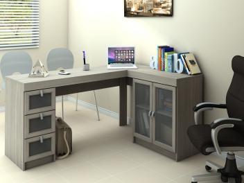 Mesa para Computador/Escrivaninha Espanha 2 Portas - 3 Gavetas com Vidro - Politorno 117798