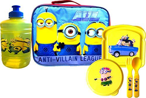 Despicable Me Minions Lunch Box Anti Villain League with Lunch Essentials Bottle  Flatware Set Sna @ niftywarehouse.com #NiftyWarehouse #Geek #Gifts #Collectibles #Entertainment #Merch