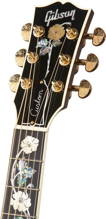 GibsonJ-185 Custom Quilted Maple with Vine Inlay Acoustic GuitarSunburst, Headstock