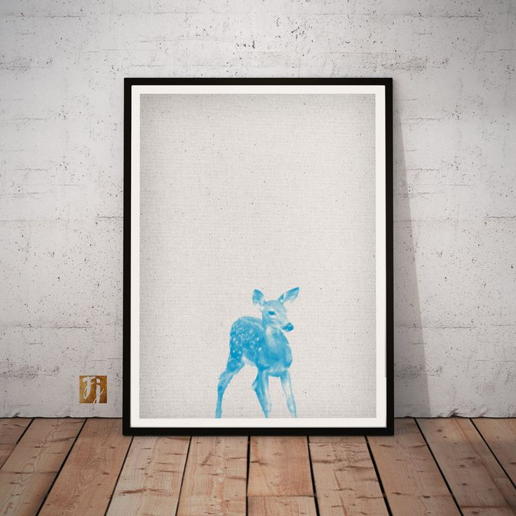 Deer Print, Safari Kindergarten Wall Art, Animal Print, blue Dekor, printable Poster, Download, Nursery, kidsroom Livingroom, bedroom decoration hipster Halftone von FroileinJuno auf Etsy