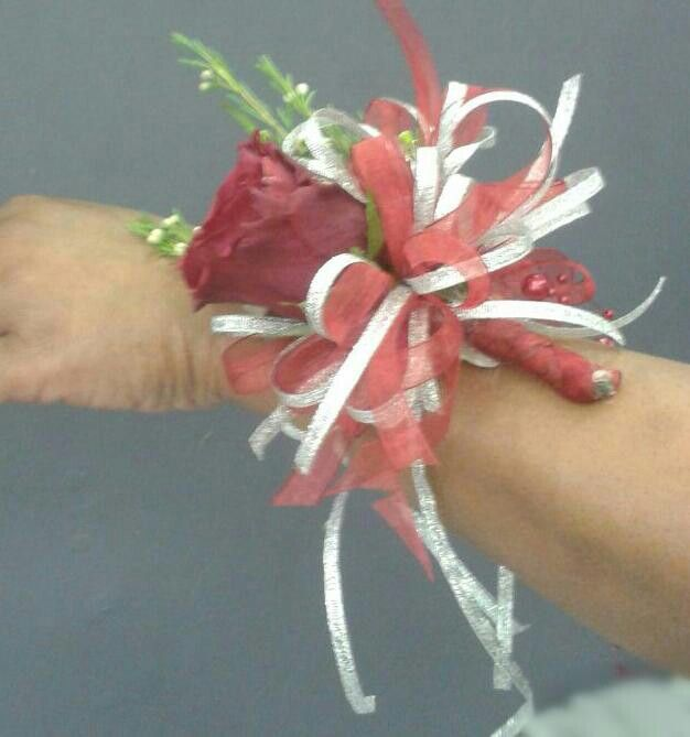 Red & Silver Arm Corsage