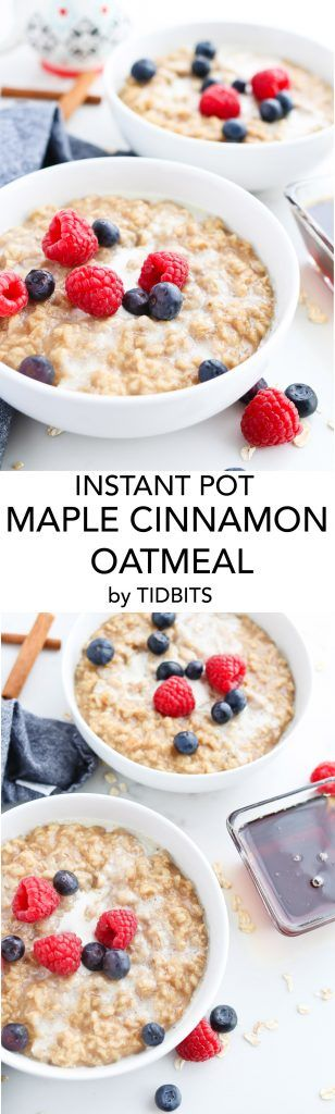 Instant Pot Maple Cinnamon Oatmeal is perfectly warm and creamy for a comforting breakfast