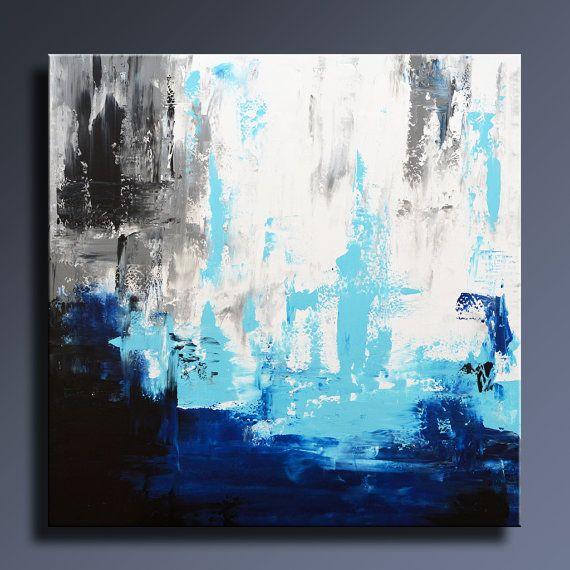 R sum original peinture 36 blanc gris bleu noir peinture for Toile decoration murale zen