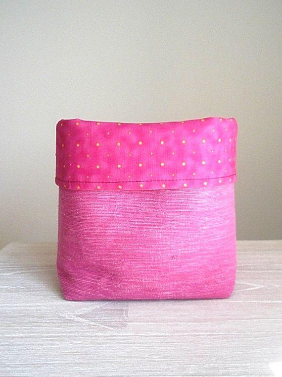Pink storage bin Large fabric basket Mauve by greylittlemouse