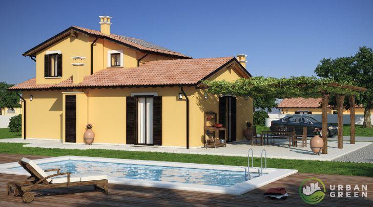 Progetto Casa in Legno Bipiano URB03 da 130 metri quadrati. Progettazione casa in legno personalizzata a seconda delle esigenze abitative
