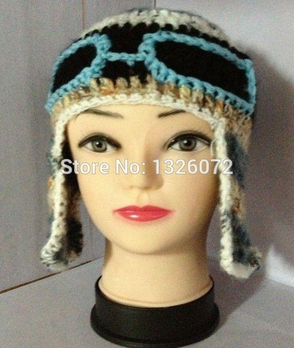 Novelty  Handmade Crocheted Children Pilot ha t Cute Cool Beanies Caps Halloween Funny Hats Shower Gifts