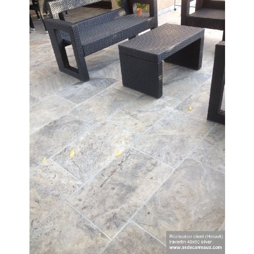 Carrelage pierre Travertin silver gris 40x60 cm - 0.96m²