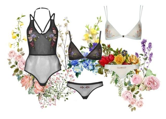 """""""TOPSHOP in bloom"""" by clavisfashion ❤ liked on Polyvore featuring mode, Pier 1 Imports, Topshop, floral, topshop, lingerie, underwear et springfashion"""