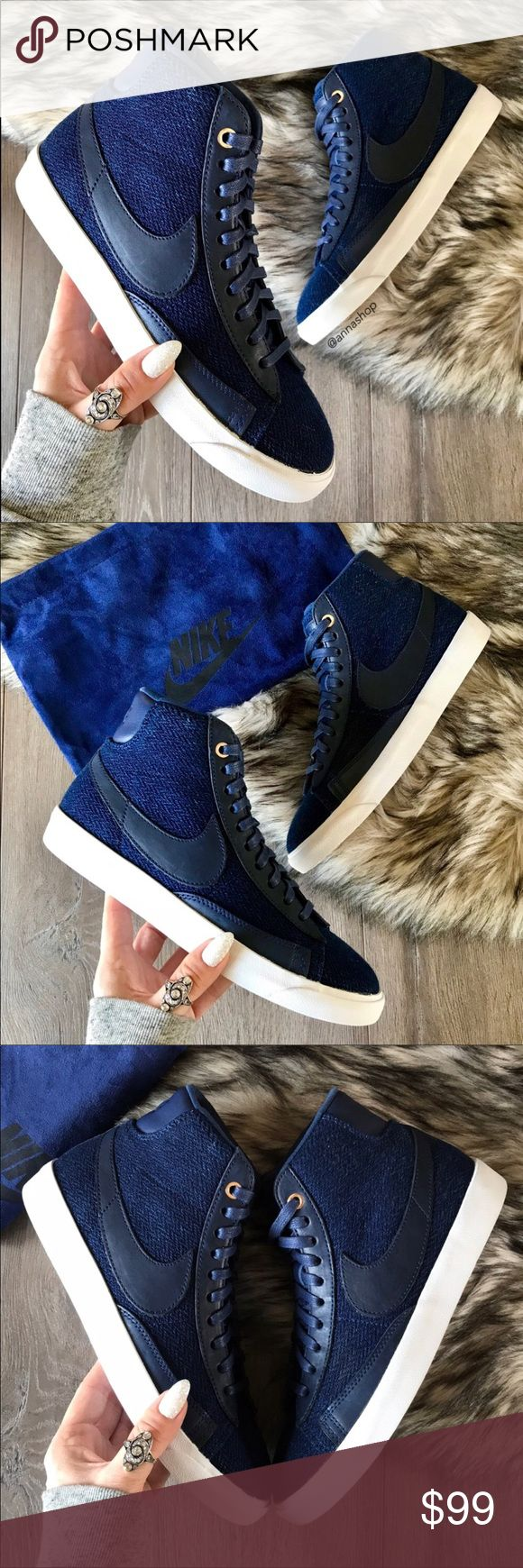 NWT Nike blazer mid Premium Denim Brand new with box no lid, price is firm. From its birth as a basketball sneaker in 1972, this suave mid-top has matured into a street-style essential. Lace-up style Leather and textile upper/synthetic lining and sole Imported Nike Shoes Sneakers
