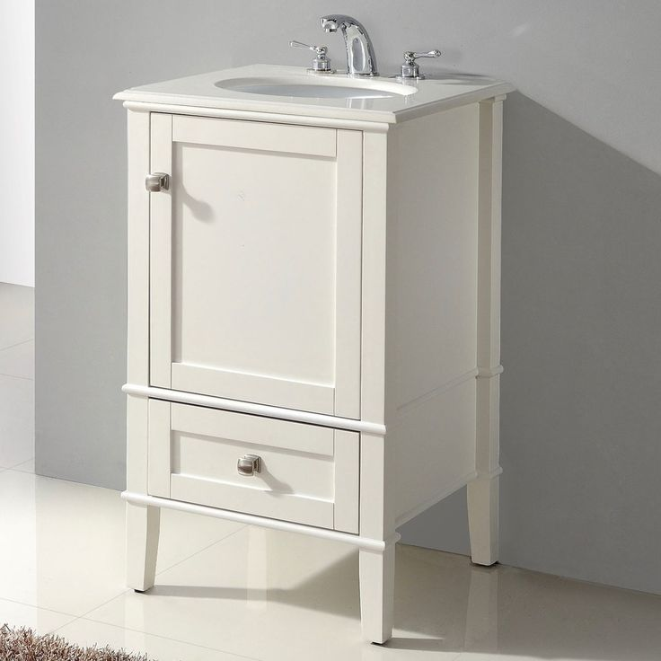 Schön 21 Inch Single Bathroom Vanity Set With Off White Marble Top