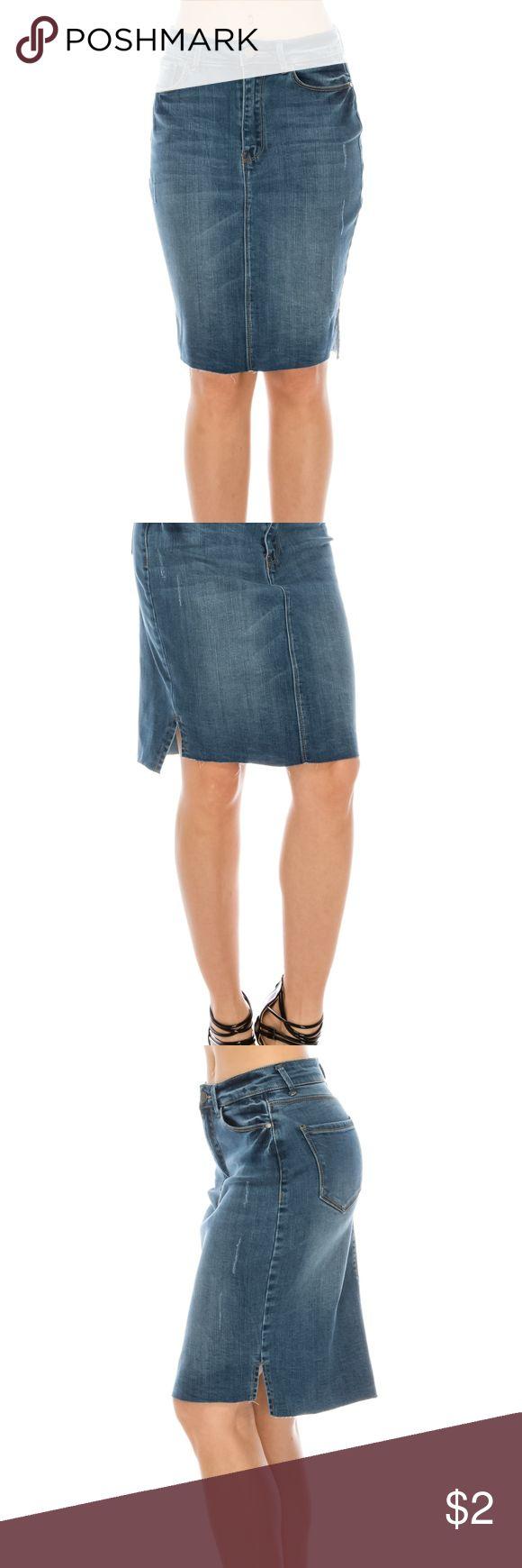 Denim skirt Denim skirt with un finished hem ,  soft stretch denim denim Skirts Mini
