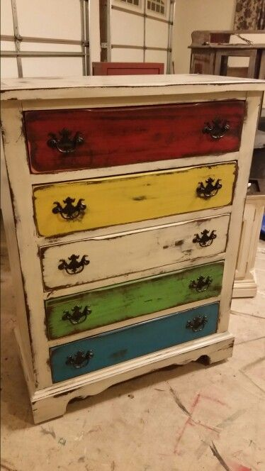 Multi colored distressed dresser | Ratique Furniture ...