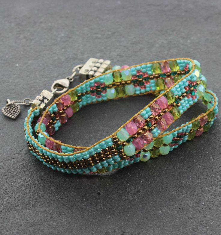 """Chili Rose Wrap Bracelet - Sterling Silver and Turquoise Beaded Wrap Bracelet, 14""""-15"""""""