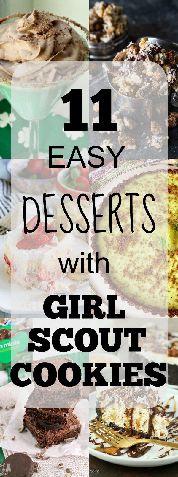 Girl Scout Cookie Recipes, 11 easy recipes that use different flavors of Girl Scout Cookies including Thin Mints, Tagalongs, and Samoas. Also a list of Girl Scout cookie flavors and where to buy Girl Scout cookies. #GirlScoutCookies #Dessert #Recipes #SnappyGourmet #ThinMints #Samoas #Tagalongs #Cookies