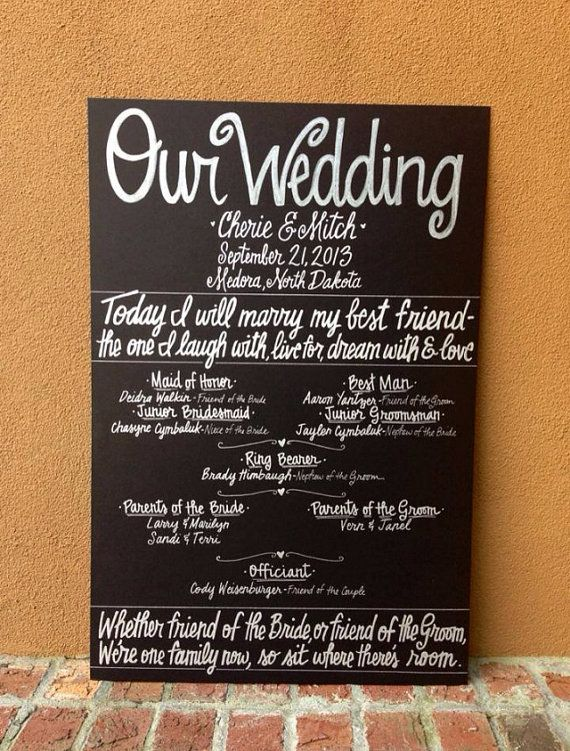 Unique Wedding Program In All White Custom Hand Painted 20x30 WEDDING CHALKBOARD POSTER Signage