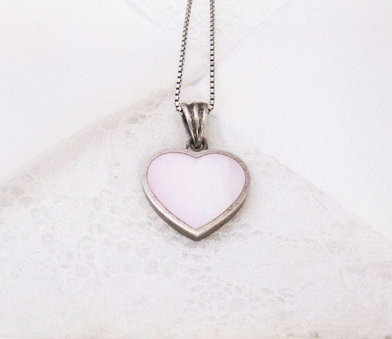 Vintage Sterling Silver Mother of Pearl Heart by BygoneAllure