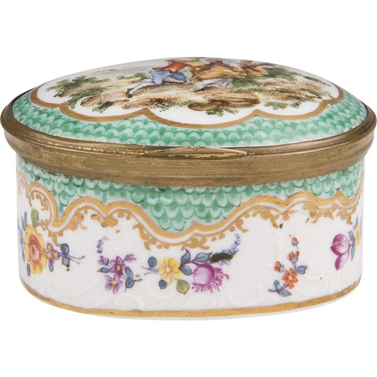 19th C. Sevres Style French Hand Painted Porcelain Trinket Box -- found at www.rubylane.com #vintagebeginshere