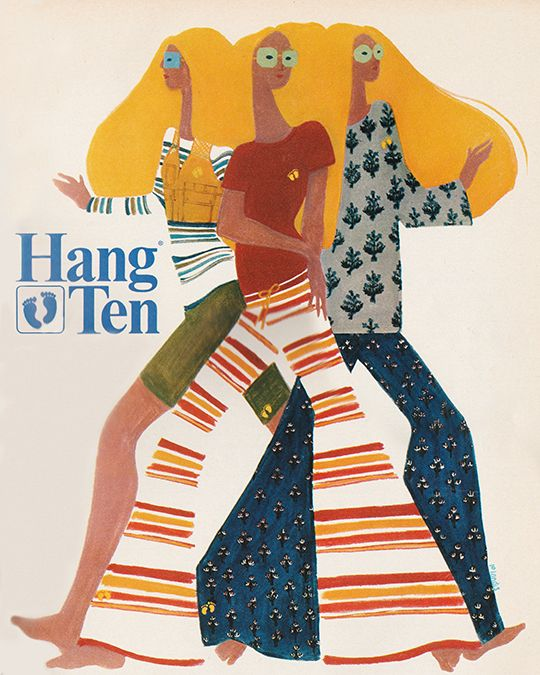 "March 1969. ""Those two gold footprints embroidered on the T-tops and pants are the official insignia of Hang Ten'"