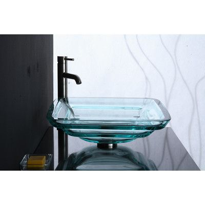 Xylem Transparent Tiered Square Glass Vessel Bathroom Sink