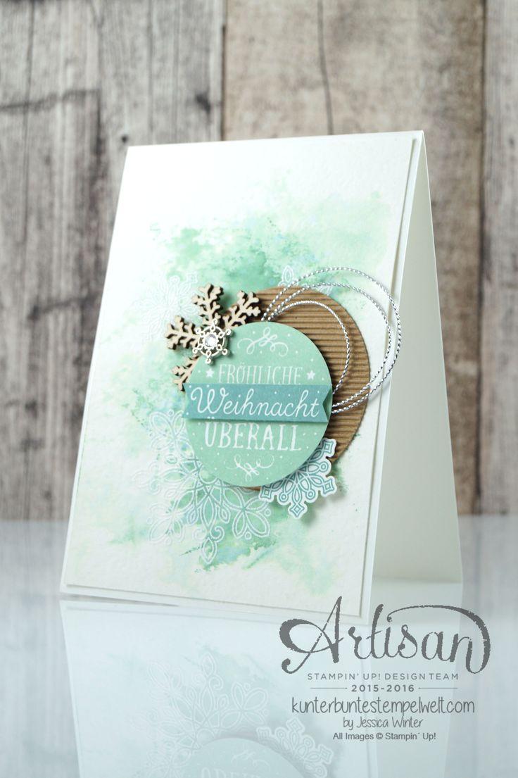 Watercolor card with SmooshingTechnik - Flockenzauber - Elementstanze Schneeflocke - Jessica Winter