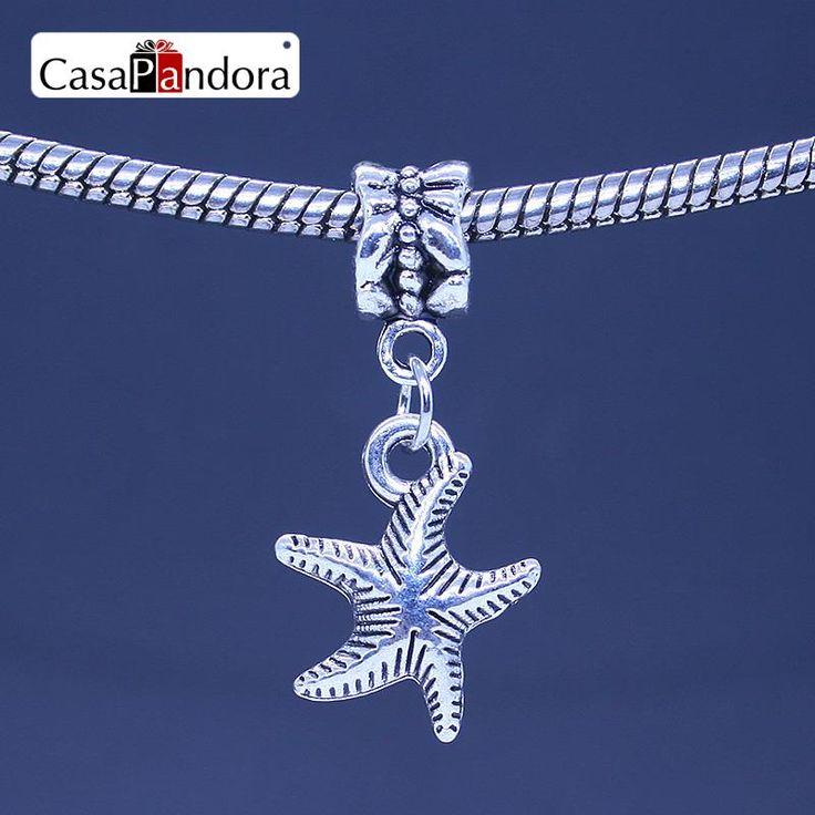 CasaPandora 925 Plated Starfish Shape Pendant Fit Bracelet Charm DIY Bead Jewelry Making Pingente Berloque
