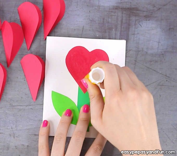 3d Heart Flower Card With Flower Template Valentines And Mother S Day Craft Idea Easy Peasy And Fun Flower Cards Flower Template Valentine Crafts
