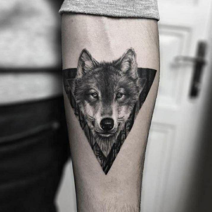 Geometric Tiger, Geometric Wolf Tattoo, Tribal Arm Tattoos, Elephant Tattoos, Trendy Tattoos, Tattoos For Guys, Cool Tattoos, Wolf Tattoo Design, Wolf Tattoo Sleeve