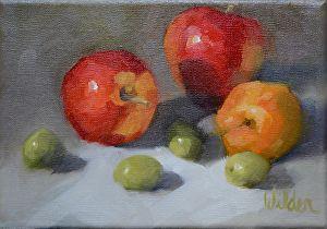 Pieces of Fruit by Judy Wilder Dalton Oil ~ 5 x 7