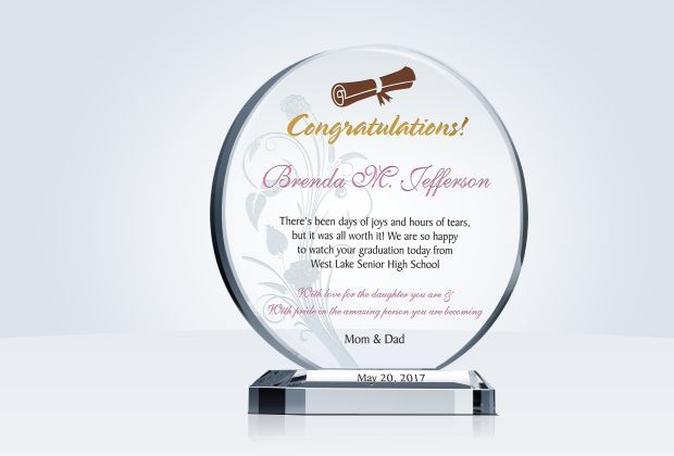 This stunning piece, would make an ideal high school graduation gift. Consider personalizing this High School Graduation Gift Plaque with an inspirational quote or personal messages to honor the high school graduate in your life.  #graduation #congratulations #gift #custom #crystal #plaque