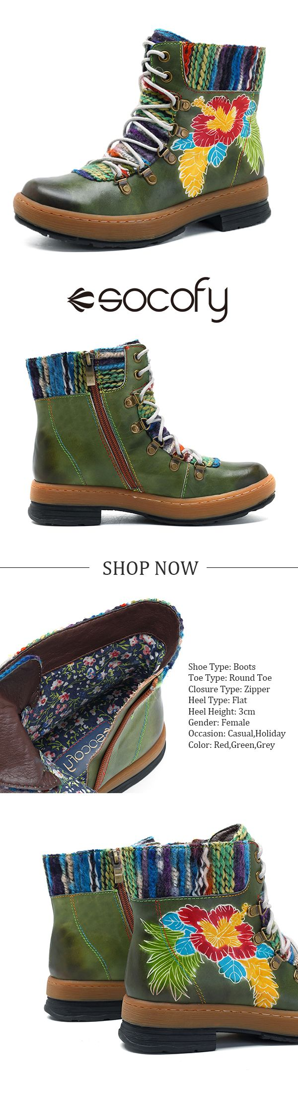 US$59.90 SOCOFY Bohemian Handmade Pattern Lace Up Ankle Flat Leather Boots