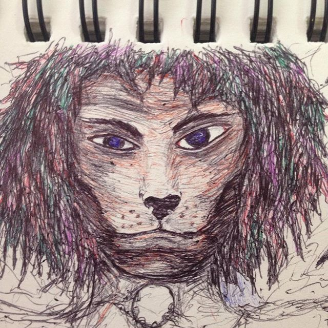 I messed up with this #drawing #draw #illustration #pen #shading #shadings #shade #notebook #artbook #drawbook #art #illusion #abstract #ink #random #wtf #creatures #face #art #artistic #dog #dogface #lion #lionface #messedup #mess #rainbowhair #multicoloredpen #ballpointedpen