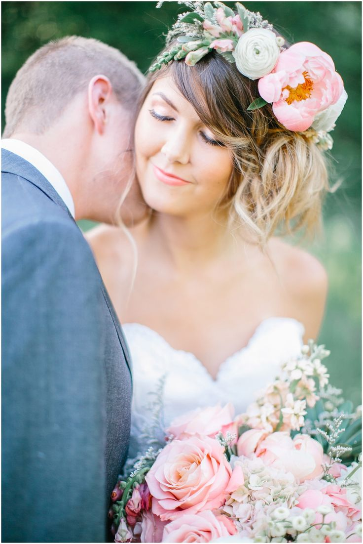 bride with peony floral crown