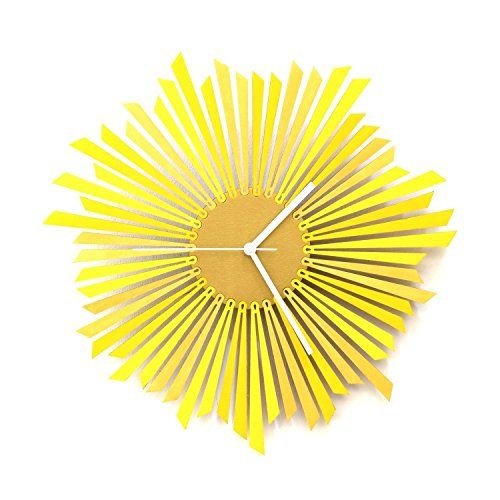 The Sun - Stylish Yellow and Gold Wooden Wall Clock, a Piece of Wall Art   Yellow wall art is a truly beautiful bold and vibrant way to incorporate yellow decorative accents into your home.  In fact, yellow home décor is becoming increasingly popular because people like yellow wall art, yellow wall clocks and even yellow canvas wall art to deck the walls of their home.  Even more cool is the new Yellow Tempered glass home décor as its cute, charming and simply adorable.