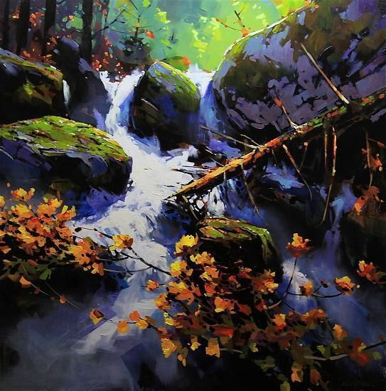 "Stream in The Spirit Bear Rainforest by Michael O'Toole Acrylic ~ 36"" x 36"""