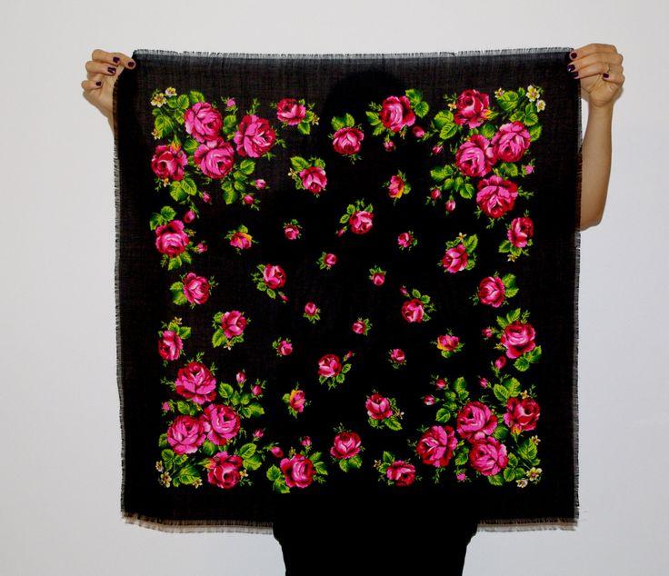 Vintage Black Polish Shawl / Russian Shawl / Ukrainian shawl / Floral square headscarf / Roses Neck scarf neckerchief Babushka kerchief USSR by VintagePolkaShop on Etsy