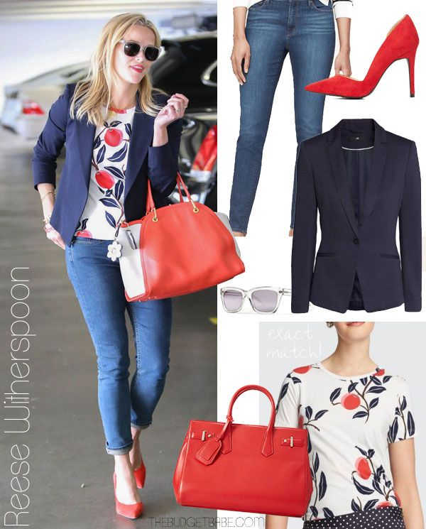 Reese Witherspoon wears a peach print tee from her Draper James collection / Get the look for less at thebudgetbabe.com