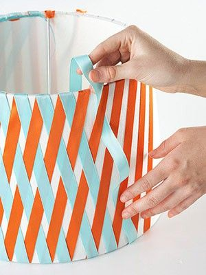 ribbon criss-cross lamp shade - Fun idea and great if you like to change your color schemes!