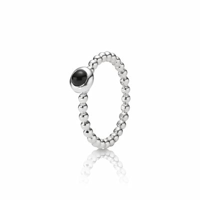 Stories Silver Ring med kulor, Onyx - Pandora