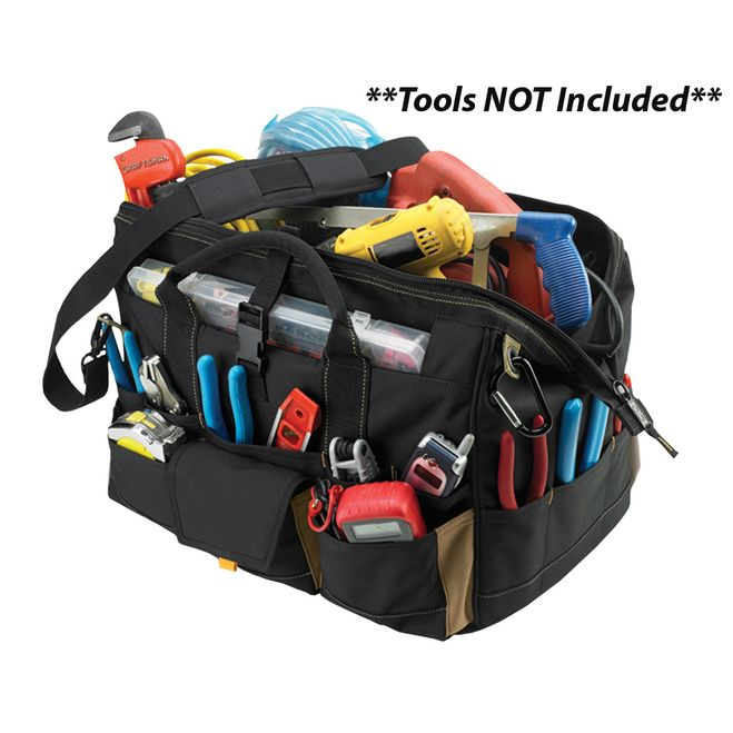 "CLC 1535 18"""" Tool Bag w/ Top-Side Plastic Parts Tray [1535]"