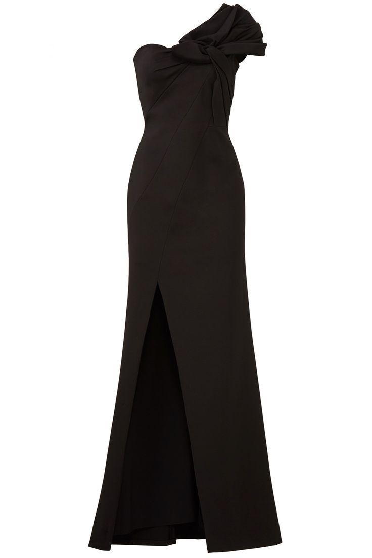 Aidan Mattox Black Bow Crepe Gown