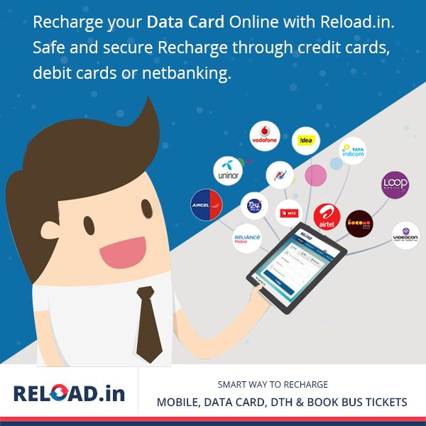 Recharge your #DataCard Online with Reload.in. Safe and secure #Recharge through credit cards, debit cards or netbanking. Vsit @ https://www.reload.in/datacard/