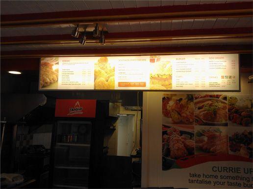 Back lit lightbox for interior menu.