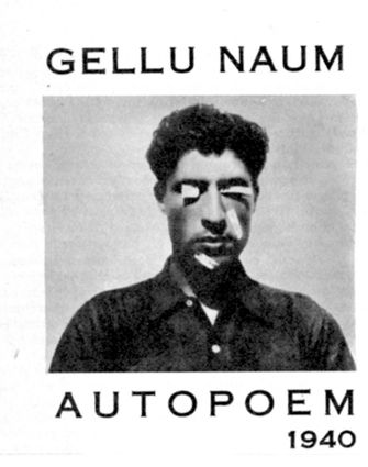"Gellu Naum, Autopoem in Almanahul Literar (1970). Picture by Theodore Brauner, 1938. Among his experimental poems were photographs of his face with words such as ""rape,"" ""death,"" and ""freedom"" typed on slivers of paper glued to his eyes, cheeks, and chin."