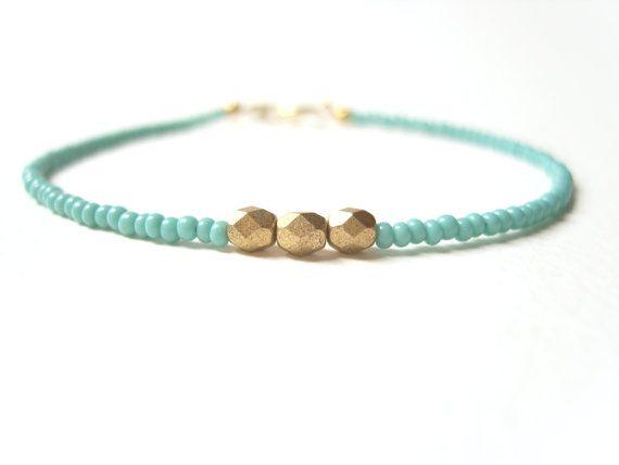 Turquoise Bead Bracelet Gold Nugget Bracelet by JewelleryByJora, £8.02